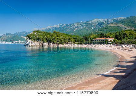 Perfect sand beach in Budva, Montenegro
