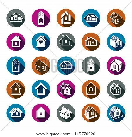 Houses abstract icons. Set of simple buildings vector architecture theme graphic symbol.