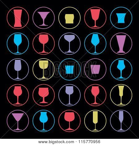 Decorative drinking glasses collection. Set of vector goblets simple glassware