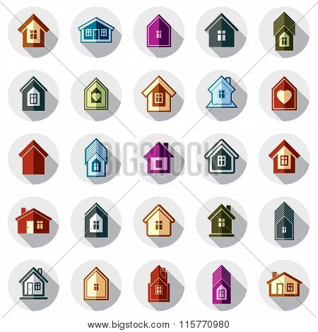 Colorful Different Houses Icons For Use In Graphic Design