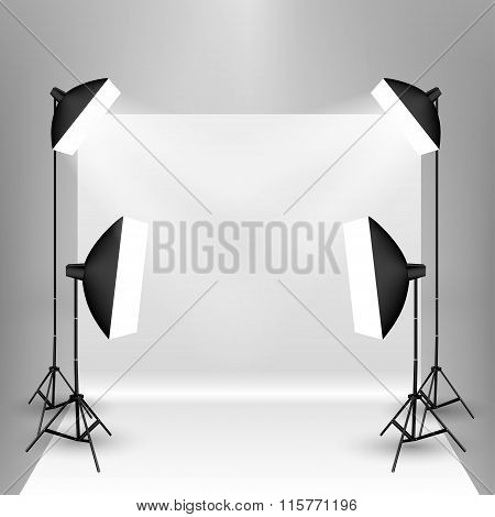 four softboxes and a backdrop stand with white backdrop