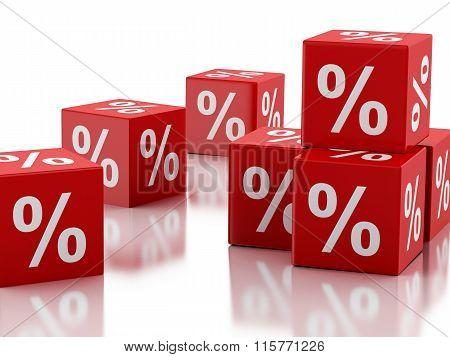 3D Red Discount Cubes. Sale Concept.