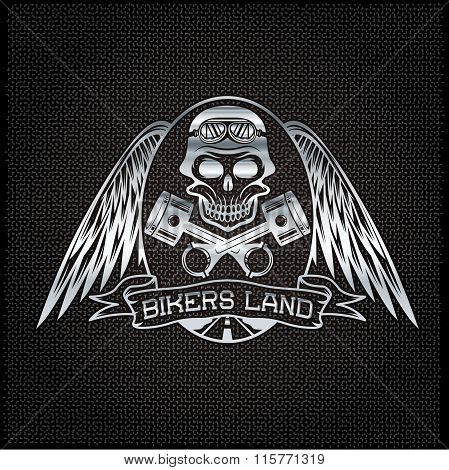 Bikers Land Silver Crest With Skull,wings And Pistons