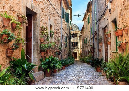 Picturesque stone street at Valldemossa
