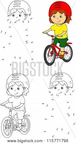 Young Boy Riding A Bicycle In Helmet. Vector Illustration. Coloring And Dot To Dot Game For Kids