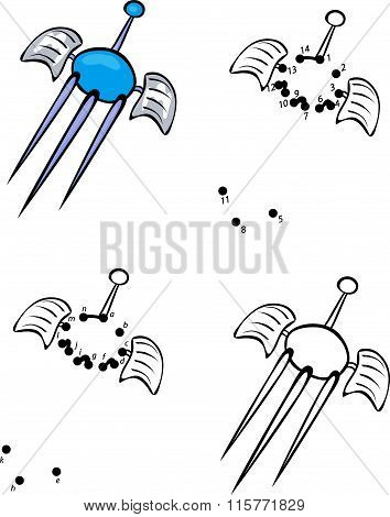 Cartoon Satellite. Vector Illustration. Coloring And Dot To Dot Game For Kids