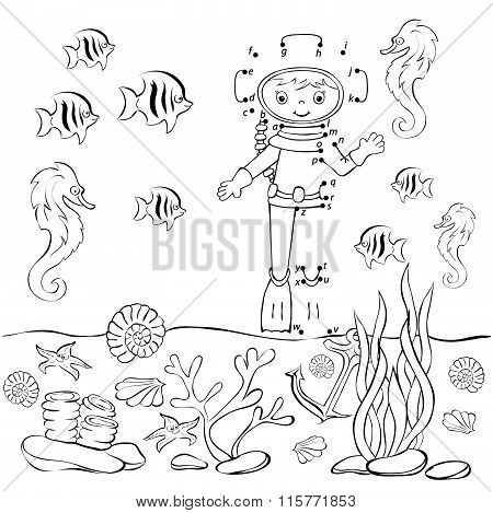 Funny Cartoon Diver In The Ocean. Vector Illustration. Coloring And Dot To Dot Game For Kids