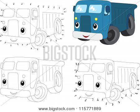 Cartoon Blue Lorry. Vector Illustration. Coloring And Dot To Dot Game For Kids