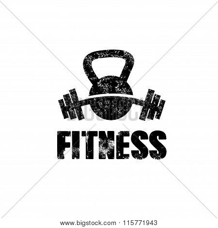 Grunge Kettlebell And Barbell Vector Design Template