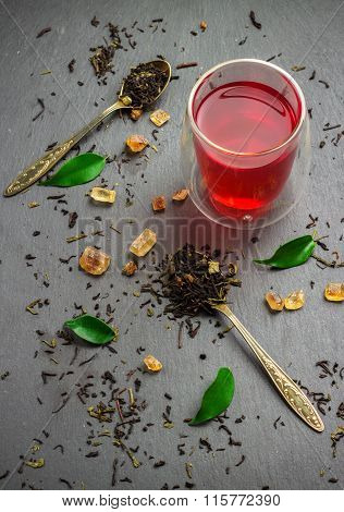 Glass of tea and ingredients