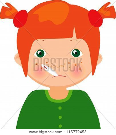 Red-haired Sick Girl With Thermometer