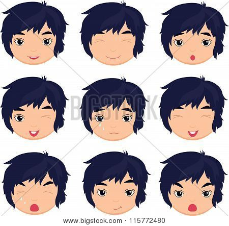 Anime Boy Emotion: Joy, Surprise, Fear, Sadness, Sorrow, Crying, Laughing, Cunning Wink