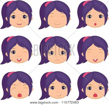 Anime Girl Emotion: Joy, Surprise, Fear, Sadness, Sorrow, Crying, Laughing, Cunning Wink
