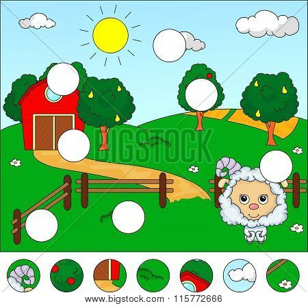 Rural Landscape With Barn, Corral, Fields And Fruit Trees And Sheep. Complete The Puzzle And Find Th