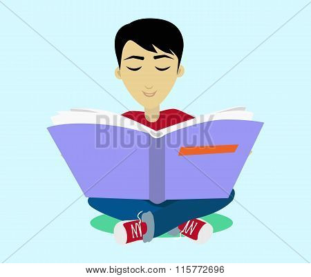Young Black Haired Man Enjoying Reading Big Book