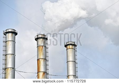 Steam Comes Out From Petrochemical Plant