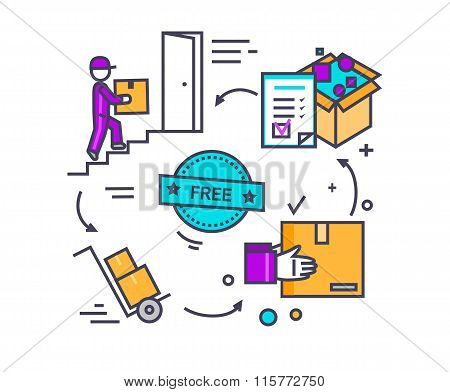 Free Shipping Concept Icon Flat Design