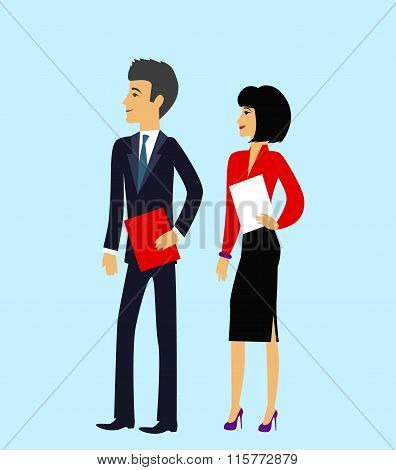 Male and Female as Office Businesspeople Icon