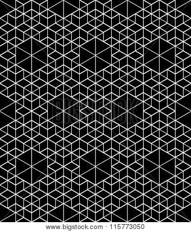 Monochrome Illusive Abstract Geometric Seamless Pattern With Cubes. Vector Stylized Texture.