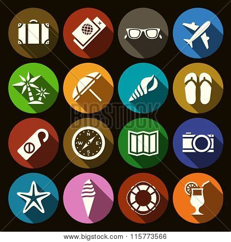 Set Of Flat Icons On The Subject Of Traveling In Flat Design