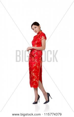 woman in traditional cheongsam