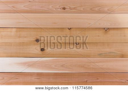 Empty Cedar Wood Wall With Horizontal Orientation