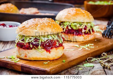 Burgers With A Cutlet Of Turkey, Cranberry Sauce And Salad