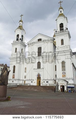 Svyato-uspensky Cathedral And The Monument To Patriarch Alexy Ii