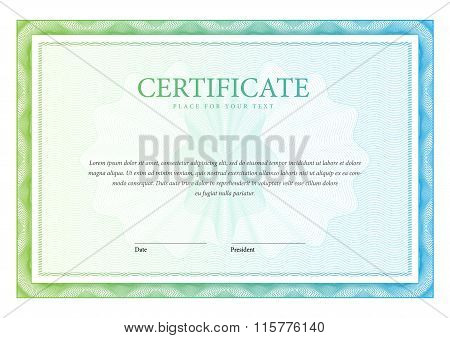 Template Horizontal Certificate And Diplomas. Vector