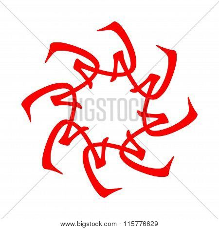 Symbol from chinese hieroglyphs. Translation of 10 zodiac stems, feng shui signs hieroglyph:'Flower