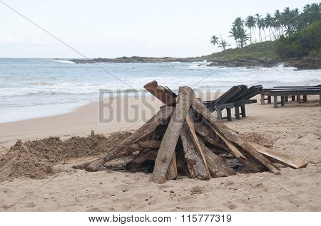 Preparation for a Bonfire at the Beach