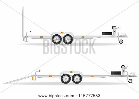 Car Trailer For Transportation Vehicles Vector Illustration