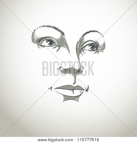 Black And White Illustration Of Lady Face, Delicate Visage Features. Eyes And Lips Of Woman
