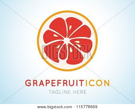 Red grapefruit stylish  icon. Juicy fruit logo