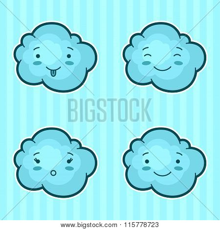 Set of kawaii clouds with different facial expressions