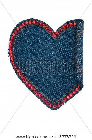 Heart Made Of Denim Fabric With Yellow Stitching And Red Rhinenstones,isolated On White Background