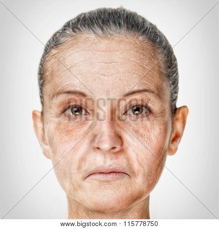 Old Woman Face Portrait, Aging Process