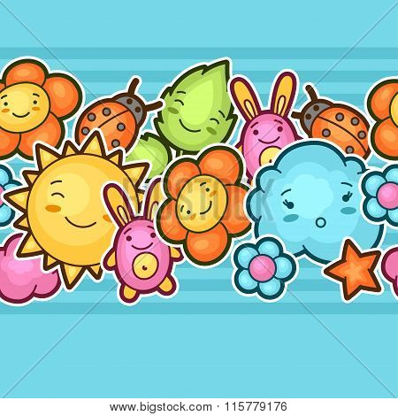 Seamless kawaii child pattern with cute doodles. Spring collection of cheerful cartoon characters su