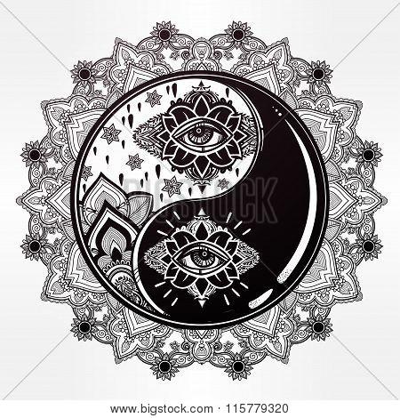 Yin and Yang boho mandala symbol.