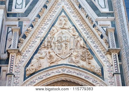 FLORENCE, ITALY - JUNE 05: Madonna of the Girdle, Portal of Cattedrale di Santa Maria del Fiore (Cathedral of Saint Mary of the Flower), Florence, Italy on June 05, 2015