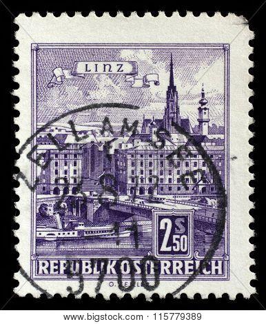 AUSTRIA - CIRCA 1962: stamp printed by Austria, shows Danube Bridge, Linz, circa 1962
