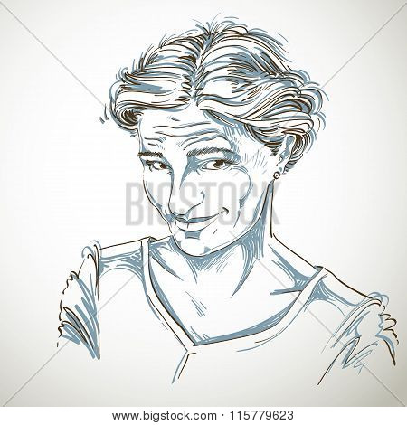 Vector Portrait Of Attractive Blameworthy Woman, Illustration Of Good-looking Naive Girl. Person Emo