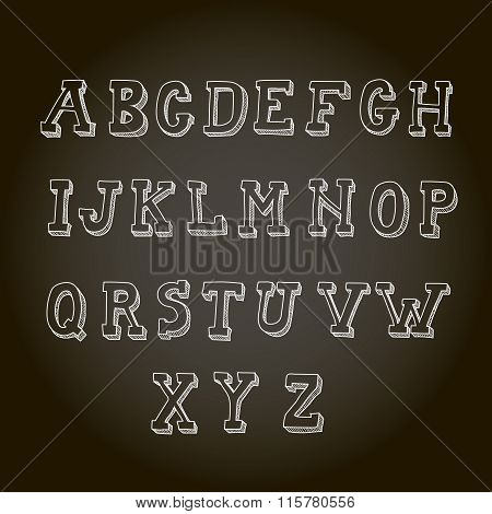 Vintage hand drawn decorative alphabet on blackboard