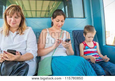 Passengers Sitting In The Train Light Metro
