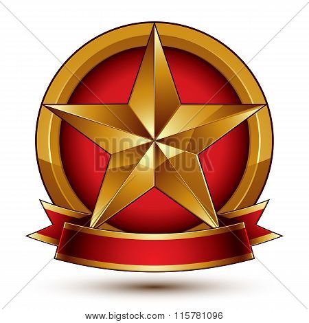 Branded Golden Symbol With Stylized Pentagonal Glossy Star And Red Decorative Curvy Ribbon, Best For