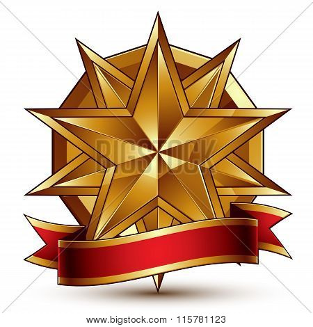 Complicated Vector Golden Design Element With Polygonal Decorative Star And Red Curvy Ribbon. 3D Lux