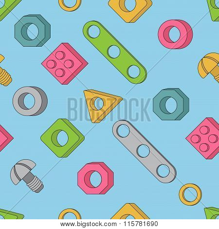 Seamless Pattern: Screws And Nuts. Construction Hardware: Bolts, Nuts And Spacers, Isolated Vector E