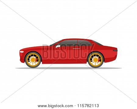 Red Sports Car Coupe With Yellow Wheels