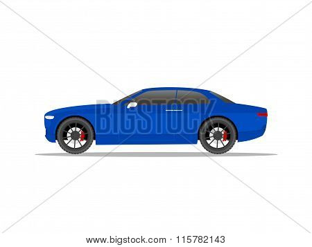 Blue Sports Car Coupe With Black Wheels