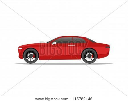 Red Sports Car Coupe With Black Wheels